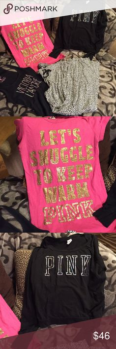 Victoria's Secret 4 lot sleepwear 2 sleep shirts and a 2 piece set. All size mediums. Items were gently worn, please ask questions and I will be happy to help. Non smoking home Victoria's Secret Intimates & Sleepwear Pajamas