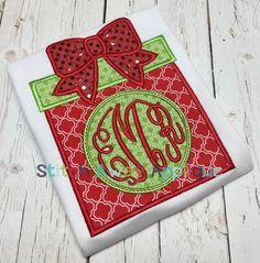 Monogram Circle Christmas Present