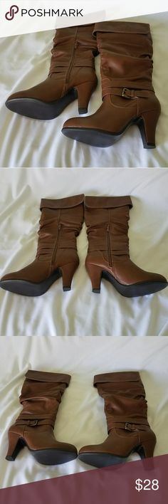 """NWOT 👢 Brown Heeled Boots Brown Boots 👢 Forever 21 size 7  • Never worn • No box, no tags, just the boots sold as is  Length: 18"""" Zipper: 9"""" Forever 21 Shoes Heeled Boots"""