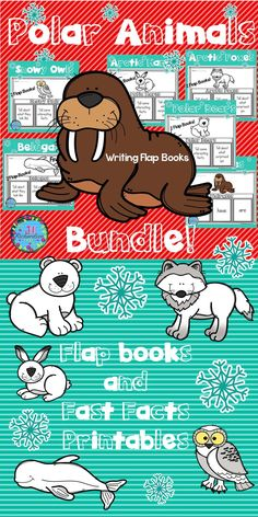 our students will love researching Polar Animals! Save 25% by getting the BUNDLE! It includes 6 Polar Animals Writing Flap Books and Fast Fact Printables! Each resource includes three ways for your children to share what they have learned about that polar animal  Polar Animals Included: Polar Bear Walrus Arctic Hare Arctic Fox Snowy Owl Beluga Take a look at the preview!