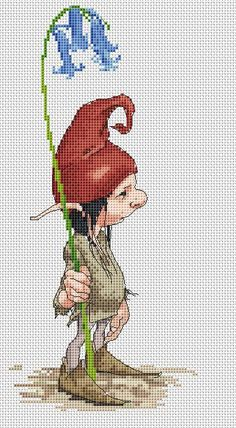 Cross-stitch Fantasy Elf ... no color chart available, just use pattern chart as your color guide.. or choose your own colors...