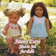 Shorts and Top Outfit for American Dolls PDF Sewing Pattern: Start summer off right with the Sunny Days Shorts Set for dolls. This pattern was created to match the Sunny Days Shorts Set for Girls. It features a gathered bodice and sweet shorts.