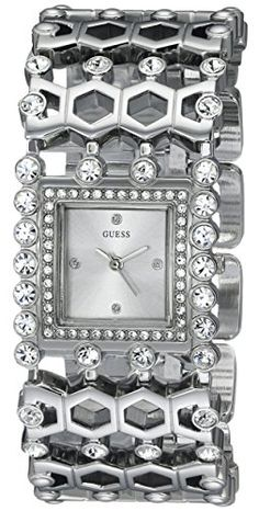 GUESS Womens U0574L1 Feminine SilverTone JewelryInspired Watch with Genuine Crystals  SelfAdjsutable Links -- Check this awesome product by going to the link at the image.