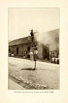 1908 Print Effigy Judas Mexico Easter Pascua Semana Santa Christianity XGMA3