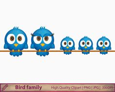 Bird family clipart, blue bird rope clip art, cute animals,scrapbooking, commercial use, digital instant download, png jpg 300dpi