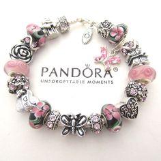 Authentic Pandora Silver 925 Charm Bracelet w/ Heart Love Pink Charms Beads New #Pandora #Charms #European #Charmbracelet #Pink #Butterfly #Mom #Mothersday #summer #love #http://stores.ebay.com/Charming-Elementz#Pandora #European