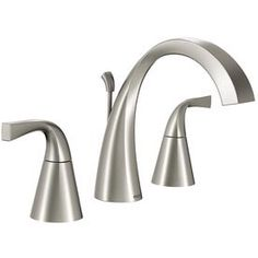 Moen Oxby Spot Resist Brushed Nickel 2-Handle Widespread WaterSense Bathroom Sink Faucet (Drain Included)
