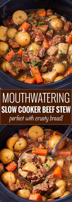Beer and Horseradish Slow Cooker Beef Stew | This slow cooker beef stew simmers all day to create the most hearty, comforting and flavorful beef stew of all time! The flavors are enhanced by using beer and finishing the dish with a kick of horseradish. | The Chunky Chef | #beefstew #beefstewrecipe #slowcookerbeefstew #crockpot #slowcooker #comfortfoods