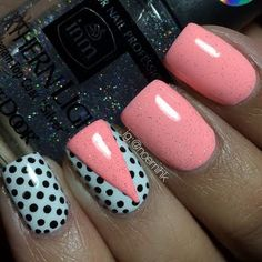 This nailart features a combination of dotted nails and a solid glittered coral shade with a chevron accent. Discover the products used to recreate this mani.