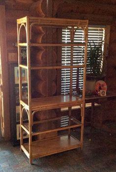 Vintage Rattan Bamboo Wicker Etagere' Shelving Unit Book Shelf #Bamboo