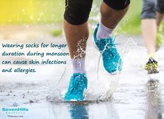 Wearing tight socks; and keeping them on when they get wet after you walk in the rain may cause skin infections and allergies.  To avoid such infections, avoid wearing socks for long; choose airy footwear when travelling; and to kill the germs and bacteria, make it a point to soak your feet in warm water for about 10 minutes after coming home from outside.
