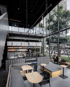 Kaizen Coffee Shop interior design by space+craft - floor to ceiling windows - Home Decorating Trends - Homedit Coffee Shop Interior Design, Coffee Shop Design, Cafe Design, Design Design, Palette, Eclectic Design, Floor To Ceiling Windows, Hospitality Design, Shop Interiors