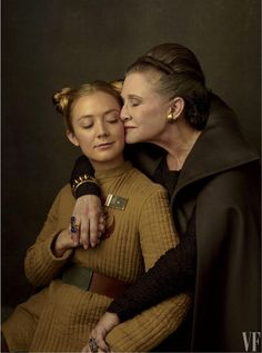 Carrie Fisher and Billie Lourd cast picture from Star Wars: The Last Jedi