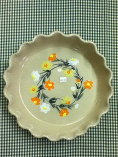 spring flower pie plate