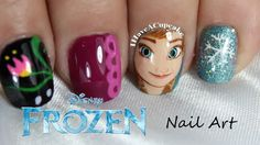 Nail Art inspired by Anna from Frozen Cute Nail Art, Nail Art Diy, Cute Nails, Pretty Nails, My Nails, Funky Nails, Frozen Nail Art, Frozen Nails, Nail Polish Designs