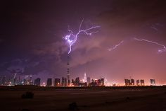 Burj Khalifa, Dubai, lightning striking the tallest building in the world
