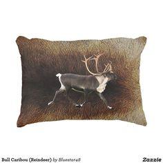Bull Caribou (Reindeer) Accent Pillow