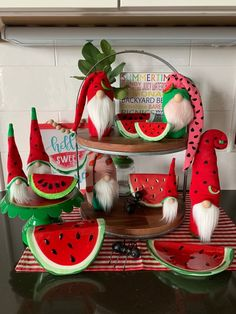 Watermelon Designs, Watermelon Decor, Style At Home, Hollywood Regency, Watermelon Patch, Felt Fruit, Tiered Stand, Teacher Appreciation Gifts, Tray Decor