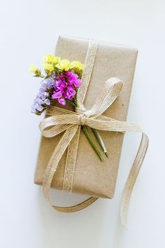 spring flowers on brown paper