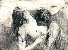 Edvard Munch, preliminary study for The Kiss davidcharlesfoxexpressionism.com #edvardmunch #expressionism