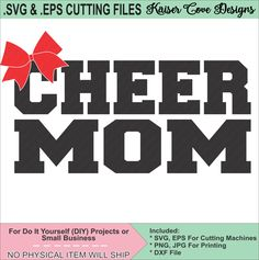 SVG,EPS Cutting File, Cheer Mom Cut File,Silhouette Cameo File,Cameo SVG,Cheer Mom svg,cheer mom eps,cheer mom cameo design file, mom svg by KaiserCoveDesigns on Etsy