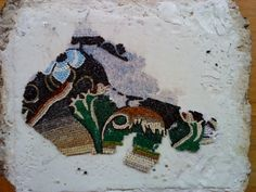 Bird. Mosaic copy of Hellenistic period from Delos Greece. (during construction) mosaic from  Eftychia Finou
