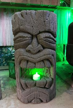 Unique hand carved aircrete concrete tiki head garden  statue . By tikiheadz.  in Garden & Patio, Garden Ornaments, Statues & Lawn Ornaments | eBay!