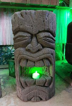Details About Unique Hand Carved Aircrete Concrete Tiki Head Garden Statue  . By Tikiheadz