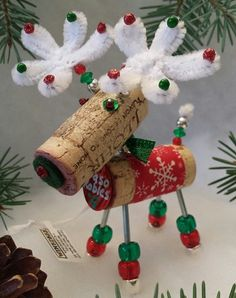 WINE CHRISTMAS ORNAMENT Winedeer Very Merry by WineToTheNines