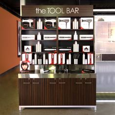 Display and retail your pro tools in our large tool bar. It comes in a free standing straight configuration and sits on a welded steel base frame with a metallic powder coat finish. Cabinets are const Spa, Beauty Bar Salon, Salon Stations, Blow Dry Bar, Beauty Supply Store, Home Salon, Beauty Lounge, Salon Style, Salon Design