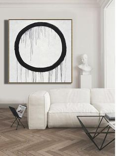 CZ ART DESIGN - Minimalist Drip Painting #DH28A, black, white, grey circle, abstract painting canvas art.