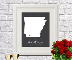 Arkansas State Art Gift Map Art Wedding by ArtPrints4All on Etsy