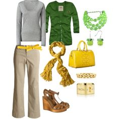 Very nice kinda business casual outfit. I'd do a different style shoe, and I'd leave off the gold bracelets. I really like the colors.  :)