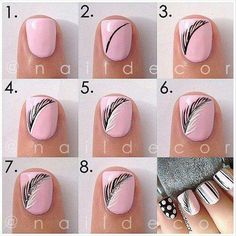 Pink Feather Nails pink nails colorful nails nail art diy nails how to nail designs manicures nail tutorials Nail Art Plume, Feather Nail Art, Feather Design, Feather Nail Designs, Feather Pattern, Feather Drawing, Great Nails, Simple Nails, Cute Nails
