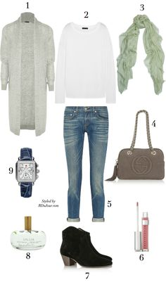 Outfit of the Day No.571 #OOTD Theory Fine-Knit Cardigan The Row T-Shirt Gucci Leopard Print Scarf Gucci Soho Bag rag & bone jeans isabel marant dicker boots MICHELE Diamond Watch