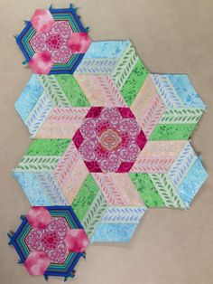 Katja Marek's The New Hexagon - Millefiore Quilt-Along: Rosette 9, done! -- completed by Tracy Pierceall, 3/9/2016