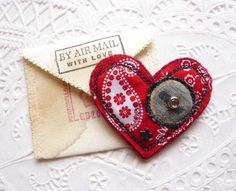 Valentine heart button brooch in love letter pouch £6.50