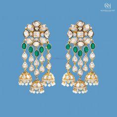 Photo From 2019 - By Balkishan Dass Jain Jewellers Coral Earrings, Big Earrings, Gold Hoop Earrings, Flower Earrings, Gold Wedding Jewelry, Gold Jewellery, Jewelery, Ear Cuff Jewelry, Indian Jewelry Sets