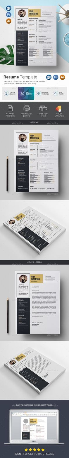 Buy Resume Template by generousart on GraphicRiver. Features of Resume Template Color Versions Paper Size With Bleeds Quick and easy to customize templates Change Cu. Resume Template Free, Brochure Template, Templates Free, Free Resume, A4 Paper, Paper Size, Presentation Design Template, User Guide, Word Doc