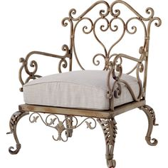 Add artful appeal to your entryway or living room with this iron arm chair, showcasing burlap upholstery and a scrolling silhouette. Wrought Iron Chairs, Outdoor Armchair, Rustic Chair, My Pool, Decoration Inspiration, Chair Backs, Metal Furniture, Weathered Furniture, Furniture Chairs