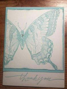 Distressed Stampin up Swallowtail butterfly in Baja Breeze with SU Wonderful Words thank you sentiment