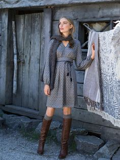 Not big on the scarf with this but otherwise really like this look. Length of dress and sleeves would be nice for fall and winter.