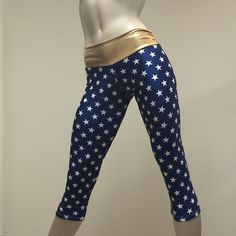 c09002eb49f03f Super Hero Hot Yoga Fitness Capri Pants Navy and Gold Stars Print SXYfitness  Brand Item #