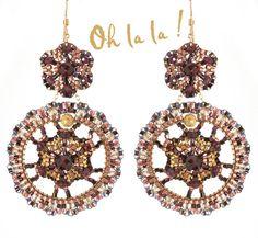 Swarovski Hoop Swarovski Crystal Earrings with Garnets and Gold Fill, Big Hoop Swarovski Crystal Earrings Beaded by Esther Marker