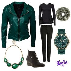 green leather jacket black jeans green stone necklace