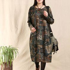 Женщины Хлопок Vintage Сыпучие Fitting длинное платье рукава