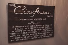 """Our Large 1 Corinthians 13 LOVE sign is hand painted with verses 4-8. Similar to our medium sign with the same name, this one comes in distressed white or stained wood. It measures 36""""X24"""" and comes with hardware attached and a """"no tool required"""" hook for easy hanging.   Customers local to ATL ..."""