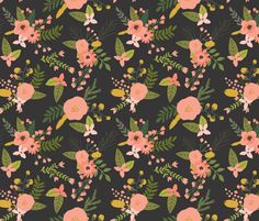 sprigs and blooms // black // oversized fabric by ivieclothco on Spoonflower - custom fabric