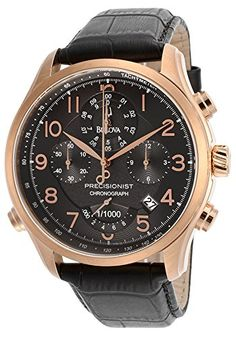 Bulova Mens Precisionist Wilton Chrono Black Genuine Leather and Dial * To view further for this item, visit the image link. Cool Watches, Watches For Men, Bulova Watches, Thing 1, Designer Earrings, Luxury Watches, Omega Watch, Chronograph, Leather