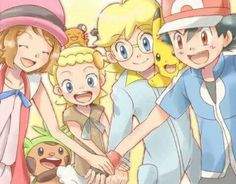 Ash, Pikachu and their Kalos friends ^_^ ^.^ ♡ I give good credit to whoever made this